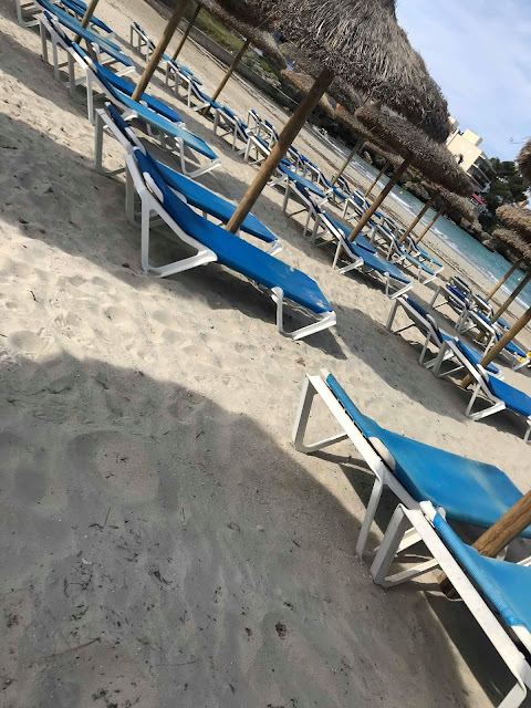 sunbeds on the beach in Majorca