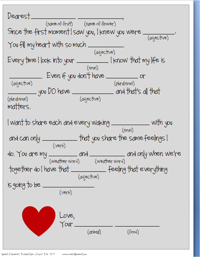 Valentines Mad Libs Printable For Kids 2