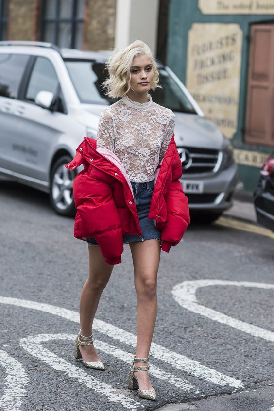 Red Puffer Jacket Denim Skirt Sheer Lace Top Model Off Duty London Fashion Week LFW SS17 Street Style