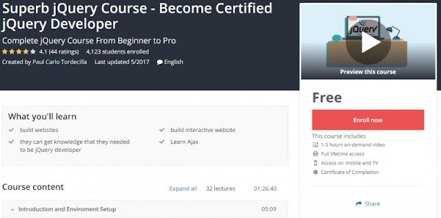 [100% Free] Superb jQuery Course - Become Certified jQuery Developer
