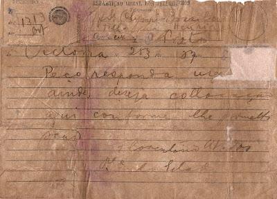 Telegrama do presidente do Estado do Espírito Santo, Florentino Avidos, solicitando resposta urgente sobre colocação de Olympio Brasiliense em Vitória, ES, [1924].