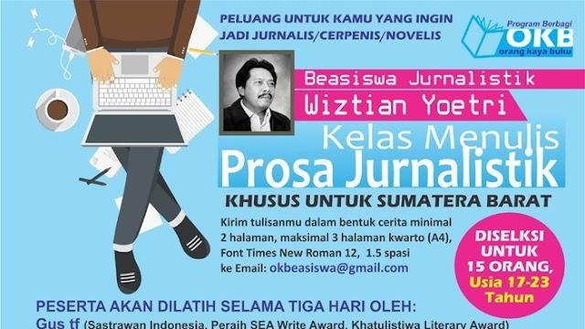 Komunitas OKB Disponsori Wiztian Yoetri, Buka Program Beasiswa Bagi Penulis Muda