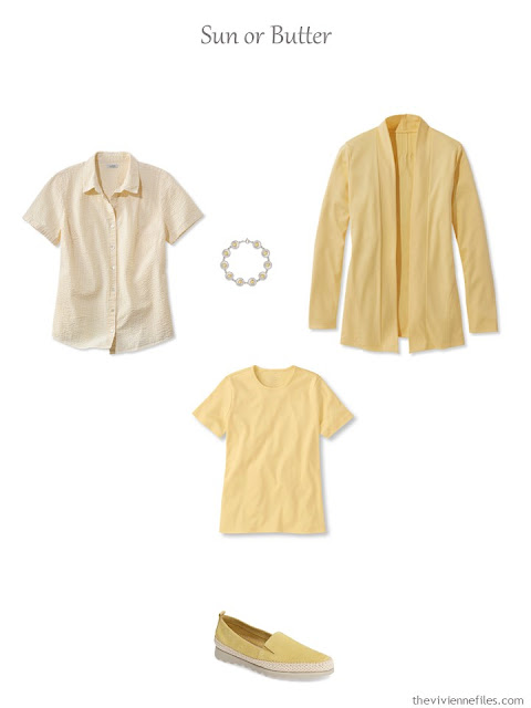 French 5-Piece Wardrobe for warm weather, in sun or butter yellow