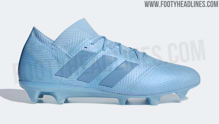 85a10c0adf4022 This image shows the pale blue Adidas Nemeziz Messi 2018-2019 cleats.