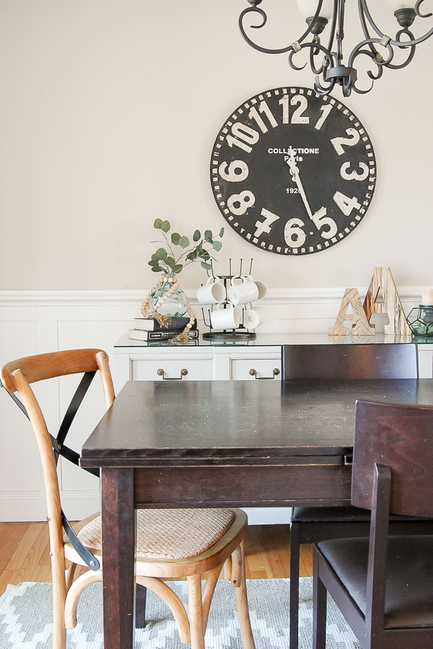 Styled vintage server in modern farmhouse dining room