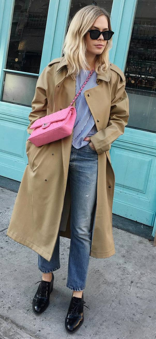 fall ootd: coat + pink bag + shirt + jeans
