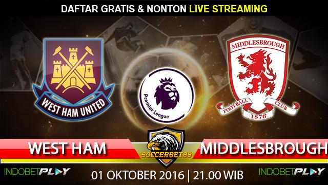 Prediksi West Ham vs Middlesbrough 01 Oktober 2016 (Liga Inggris)