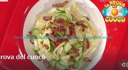 Tagliatelle con guanciale e zucchine su una crema di mozzarella ricetta Bottega da Prova del Cuoco