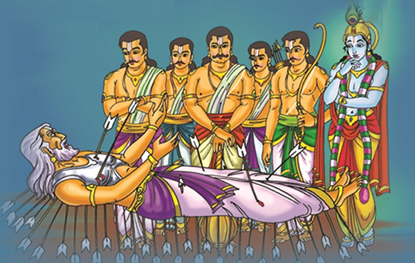 Bhishma advises Yudhistra with Pandavas and Krishna on his death bed of arrows_Shanti Parva-131