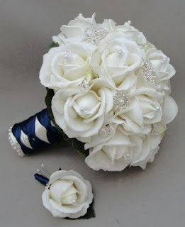 silk white roses and coral bridal bouquets