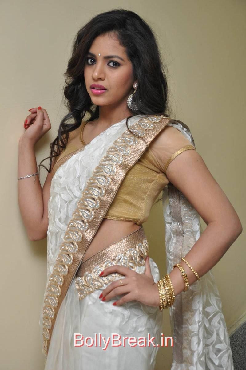 Gowthami Chowdary Stills in White Saree, Hot Pics of Gowthami Chowdary from Ramudu Manchi Baludu Audio Launch