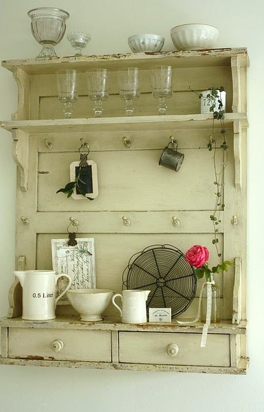 Upcycled door wall shelf & Dishfunctional Designs: New Takes On Old Doors: Salvaged Doors ...