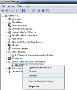 uninstall Audio Device Drivers