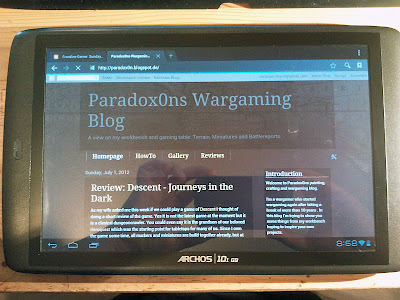 Archos Tablet displaying Paradox0ns Wargaming Blog