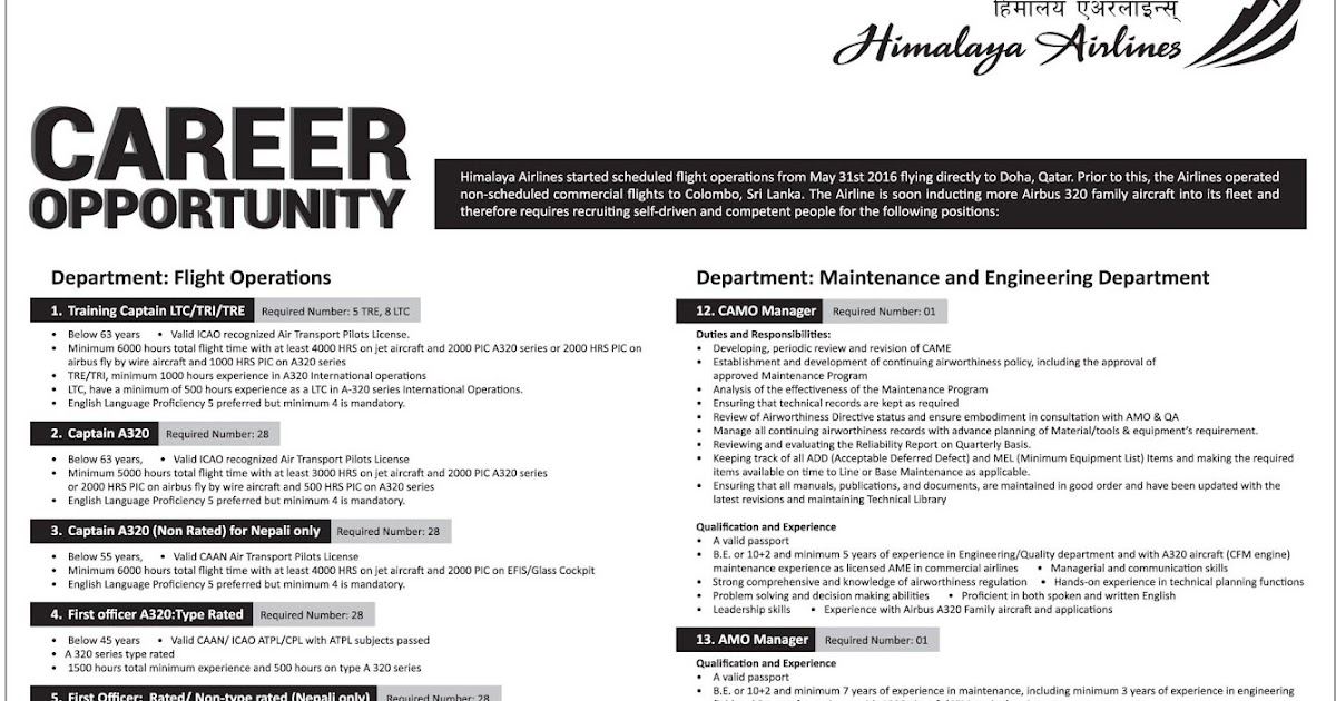 Vacancy notice from Himalaya Airlines