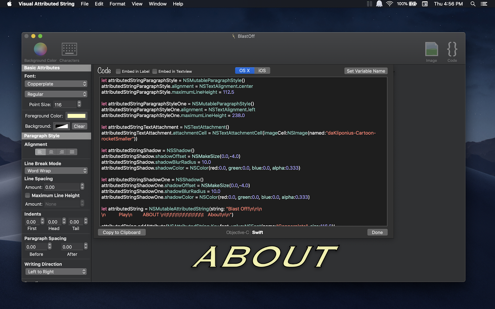 Visual Attributed String Mac app screenshot in Dark Mode on macOS Mojave with generated code window displayed.