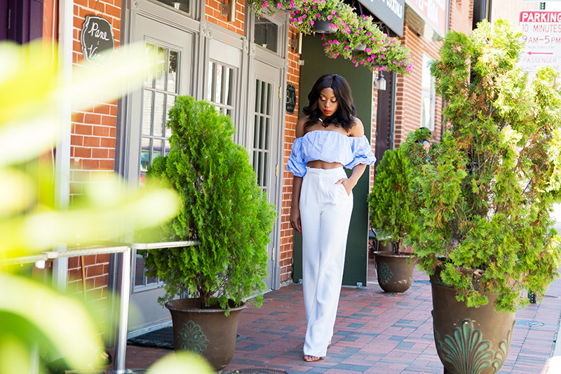 Little Italy in off shoulder, high waist pants, www.jadore-fashion.com