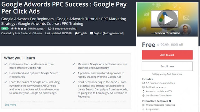 [100% Off] Google Adwords PPC Success : Google Pay Per Click Ads| Worth 199,99$