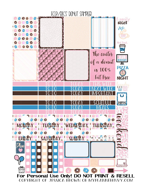 Free Printable Donut Sampler for the Vertical Erin Condren and the Recollections Creative Year Planners from myplannerenvy.com