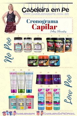 Lista com linhas de produtos para cronograma capilar liberados para No Poo ou Low Poo - Lola Cosmetics, Ykas, Inoar, Haskell, Amend, Salon Embelleze e Salon Line