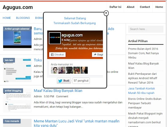 Menambah follower dengan memasang Like Facebook + Twitter di blog