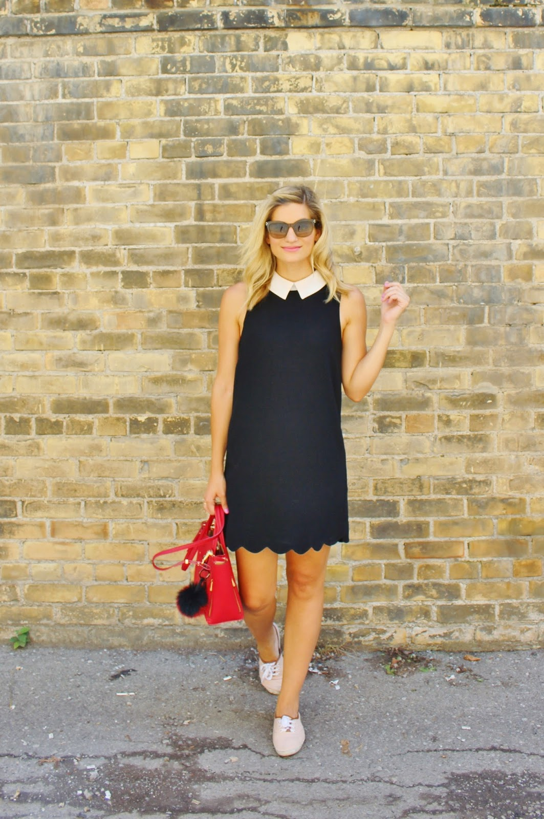 Bijuleni- Preppy peter pan collar black dress, red Ann Taylor tote and beige sneakers