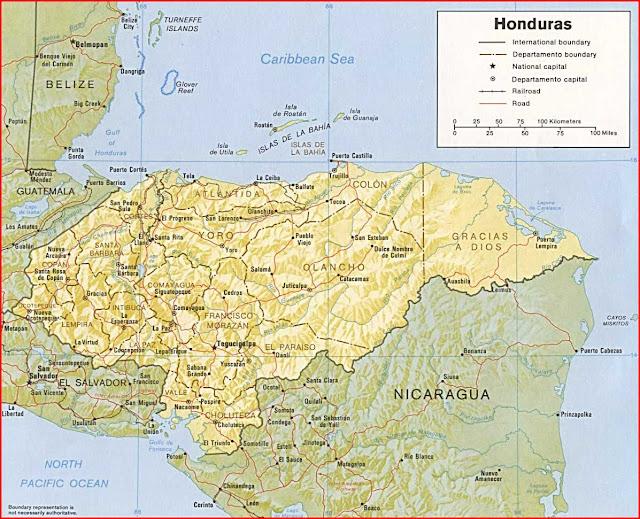 Gambar Peta politik Honduras