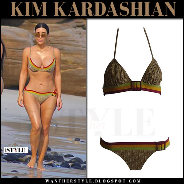 Kim Kardashian in brown logo red stripe vintage dior bikini what she wore april 2017 beach style