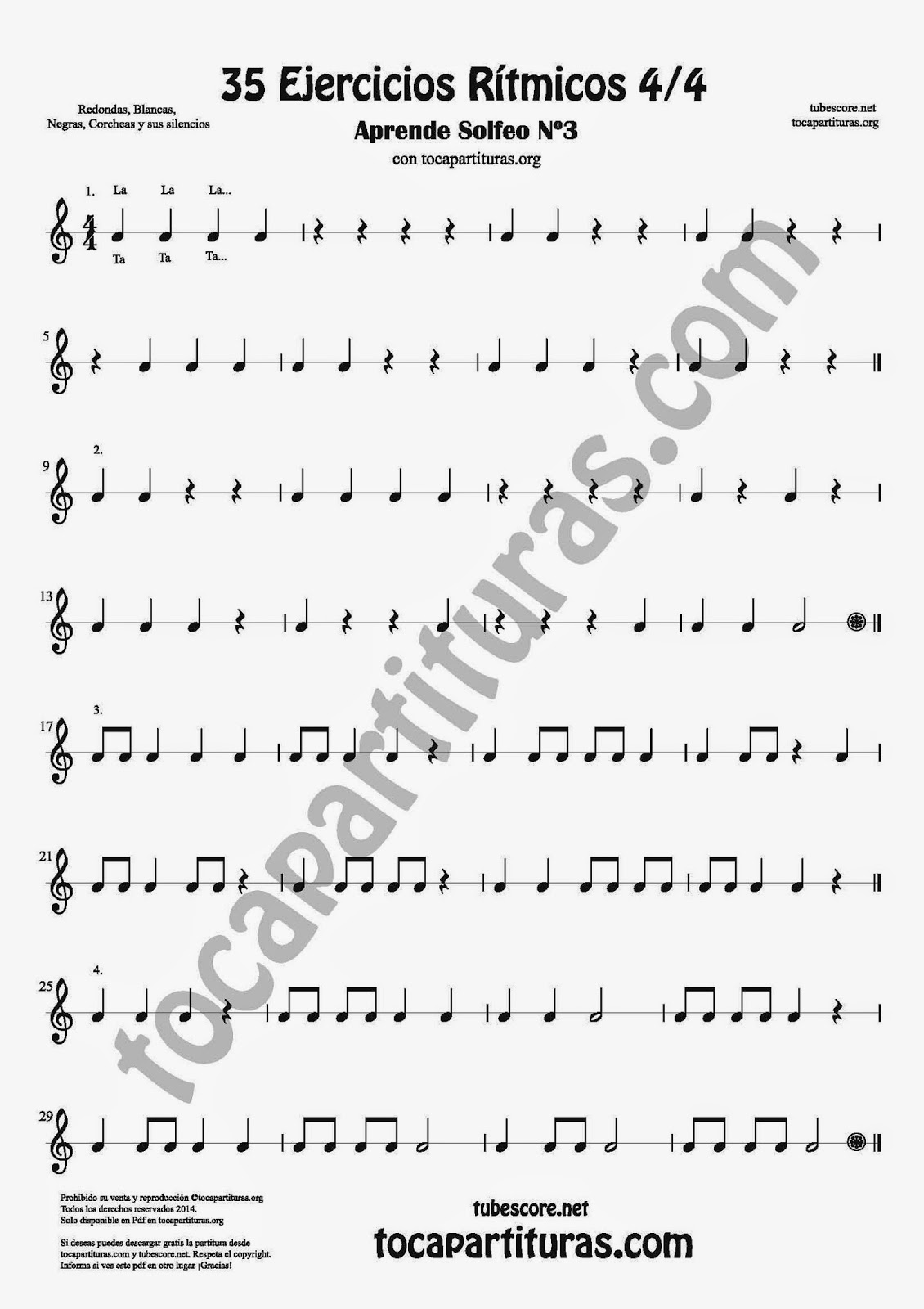 Parte 1 35 Ejercicios Rítmicos para Aprender Solfeo Negras, corcheas, blancas y sus Silencios Compás 4x4 cuatro tiempos Sheet Music for quarter notes, half notes, 1/8 notes and silences