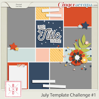 Ginger Scraps Challenge July Template Challenge #1  and Freebie