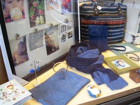 Cuadro con pinzas fotos y bolso anilla azul