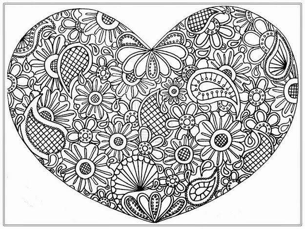 Paisley Flower Heart  Free Adult Coloring Pages  Free Printable