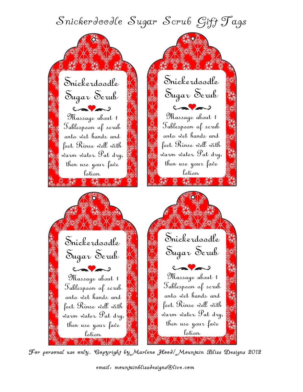 Gift Printable Scrub Body Tags