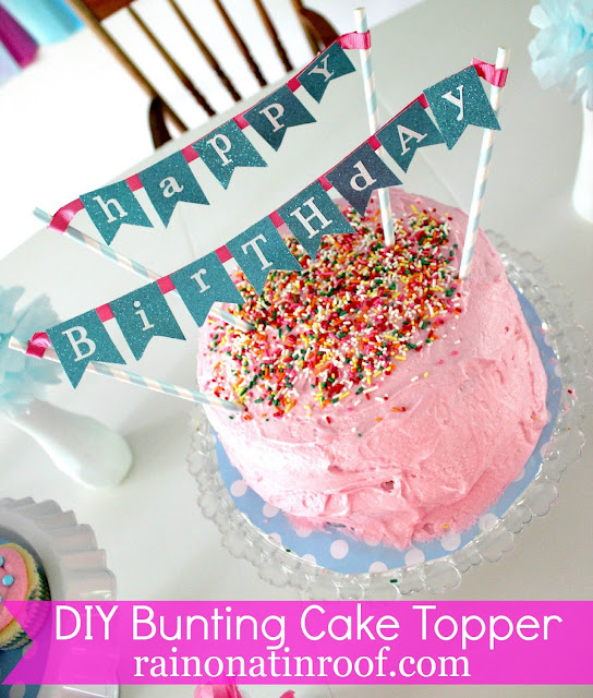 M S Bunting Cake Topper