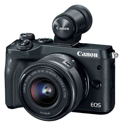 Canon EOS M6 with Optional Electronic View Finder EVF-DC2