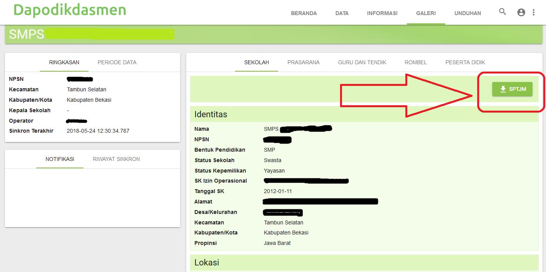 Cara Download Surat Pernyataan Tanggung Jawab Mutlak Sptjm Dapodik