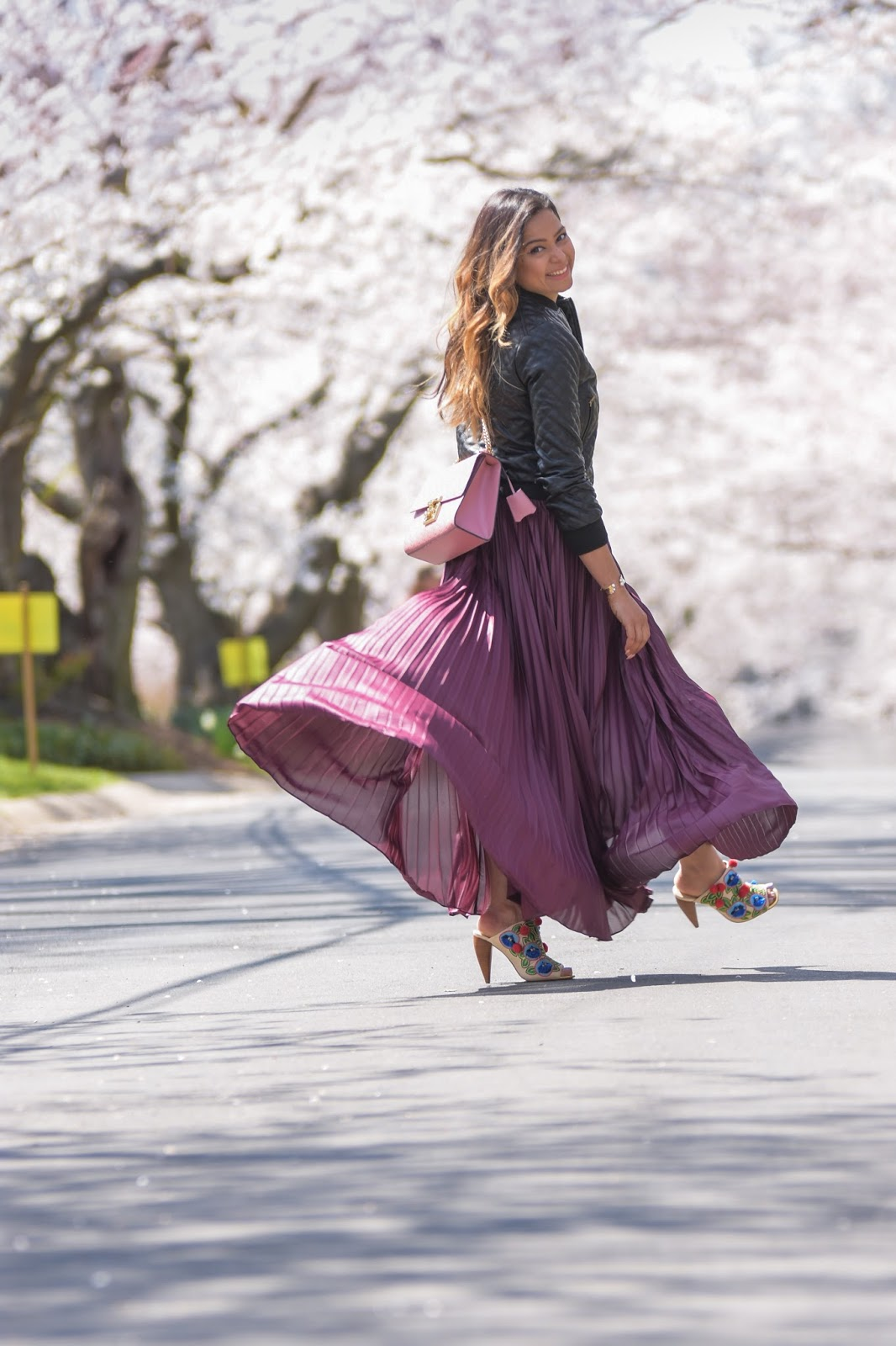 DC japanese cherry blossom festival, sakura, cherry blossom,, spring outfit, dc life, washington mag, lifestyle blogger, style blog, maxi pleated skirt, quilted bomber jacket, gucci marmont bag, balayage hair highlights, myriad musings