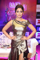 Shreya Saran in Golden Tight fit LegSplit Gown at Zee Telugu Apsara Awards 2017 08.JPG