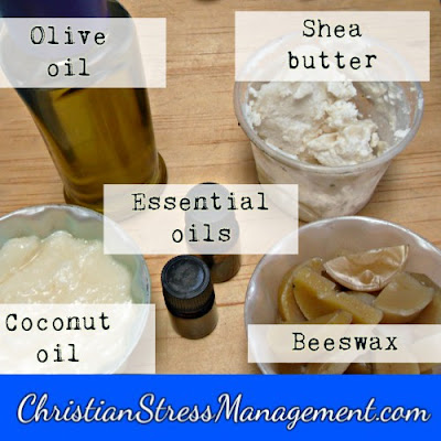 Solid lotion bar recipe ingredients olive oil, beeswax, coconut oil, shea butter, lavender essential oil