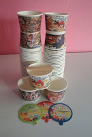 paper cup 80ml gambar animasi kartun lucu unik lengkap tutup sendok