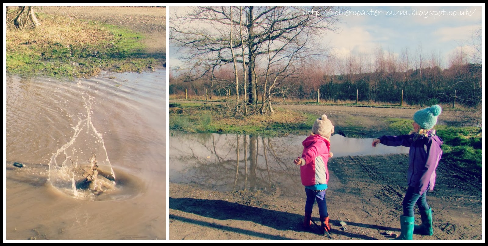 skimming stones in puddles