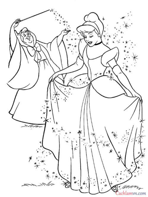 Tranh tô màu công chúa lọ lem cho bé