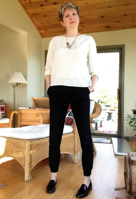 Aritzia joggers, Rag and Bone silk blouse, Stuart Weitzman loafers