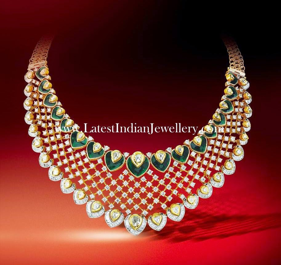 Enamel Work Bridal Diamond Necklace