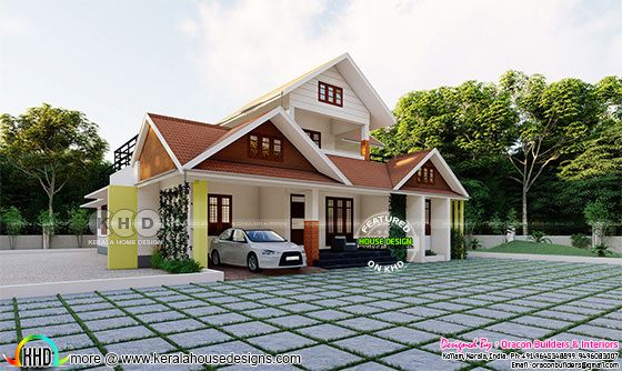 1984 square feet Beautiful sloping roof home design