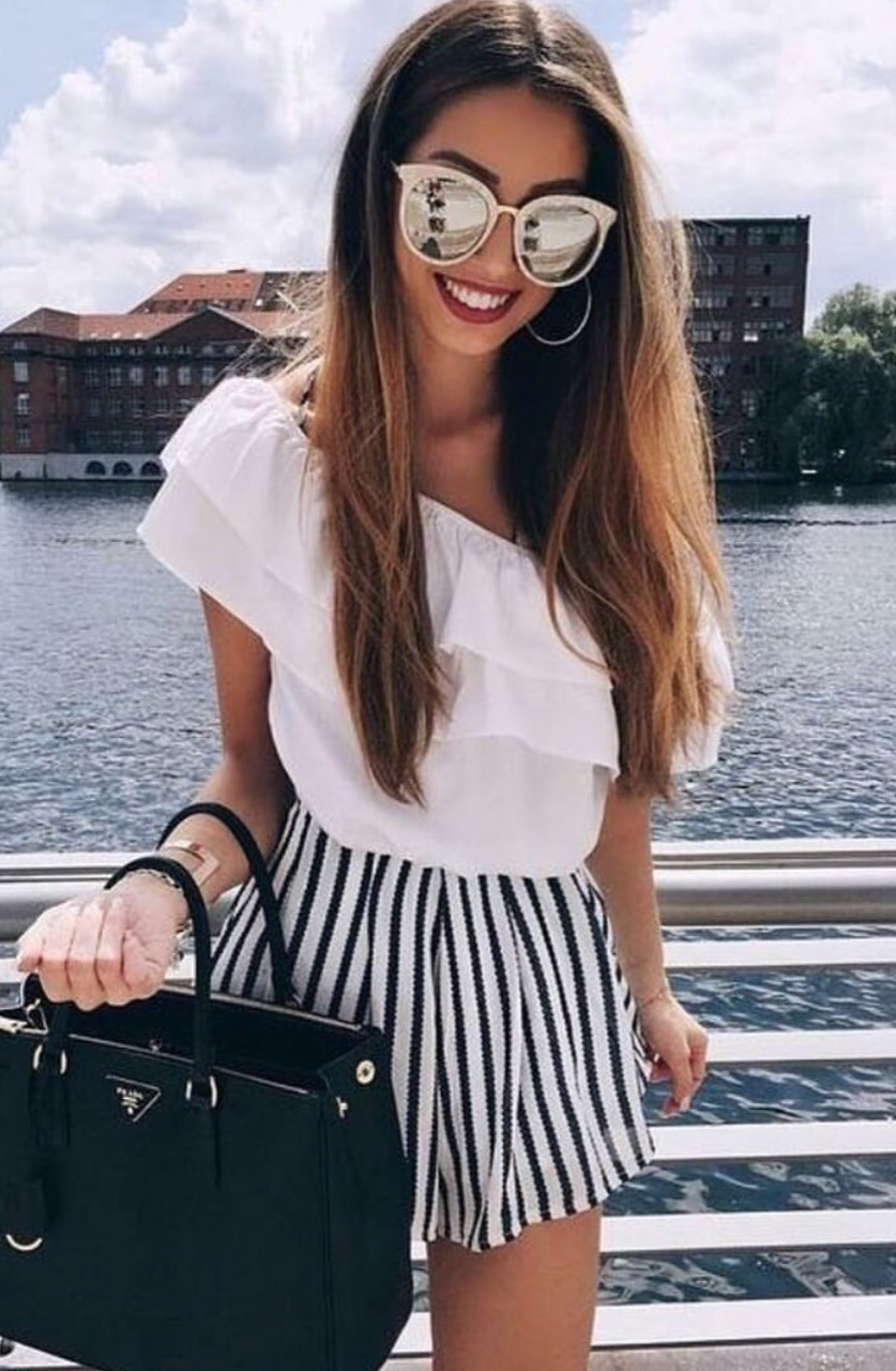 trendy outfit / white top + bag + striped skirt