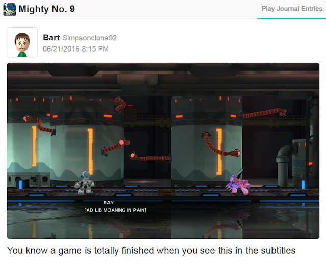 Mighty No. 9 AD LIB MOANING IN PAIN Wii U version Miiverse Ray