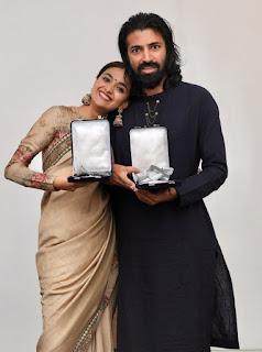 Keerthy Suresh in Saree with Mahanati Team Winning 66th National Awards 2019