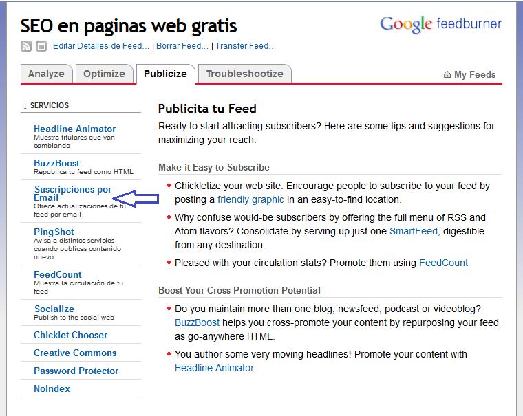 Cómo configurar RSS feed para páginas web utilizando Feedburner