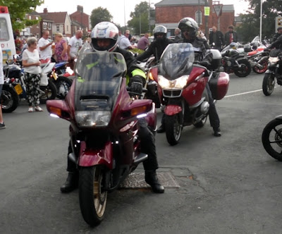 Riders arriving for Brigg Bike Night 2018 in the town centre